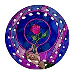 Enchanted Rose Stained Glass Round Filigree Ornament (2Side) Front