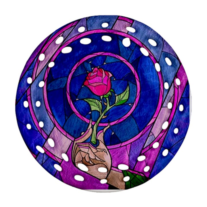 Enchanted Rose Stained Glass Round Filigree Ornament (2Side)