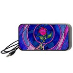 Enchanted Rose Stained Glass Portable Speaker (Black)  Front