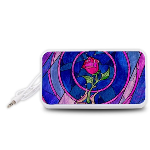 Enchanted Rose Stained Glass Portable Speaker (White)