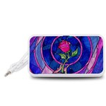 Enchanted Rose Stained Glass Portable Speaker (White)  Front