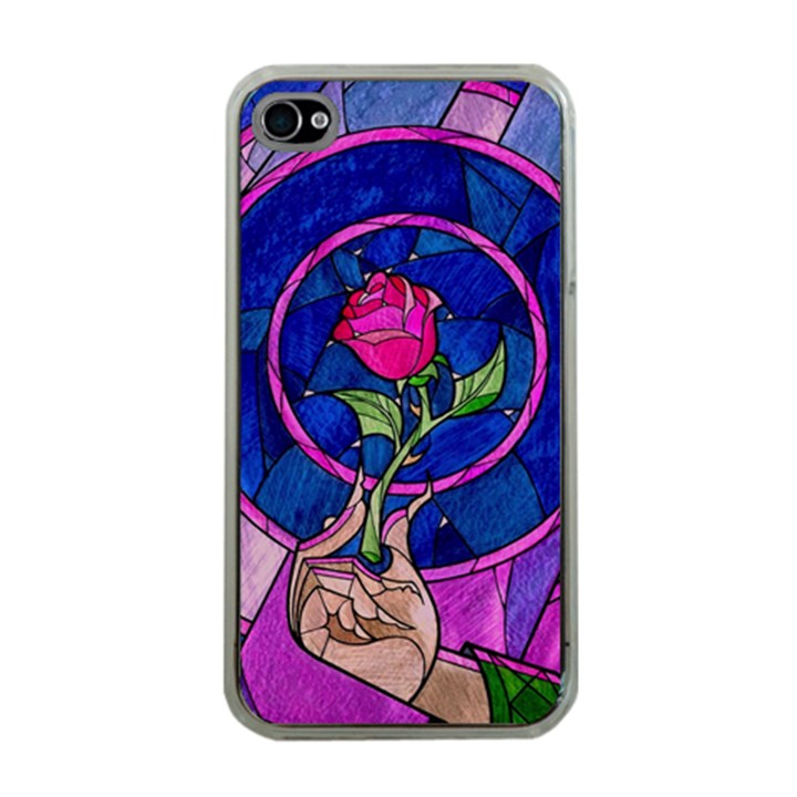 Enchanted Rose Stained Glass Apple iPhone 4 Case (Clear)