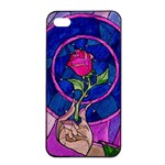 Enchanted Rose Stained Glass Apple iPhone 4/4s Seamless Case (Black) Front