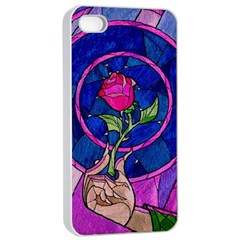 Enchanted Rose Stained Glass Apple Iphone 4/4s Seamless Case (white)