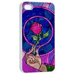 Enchanted Rose Stained Glass Apple iPhone 4/4s Seamless Case (White) Front