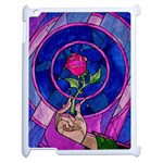 Enchanted Rose Stained Glass Apple iPad 2 Case (White) Front