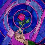 Enchanted Rose Stained Glass Twin Hearts 3D Greeting Card (8x4) Inside