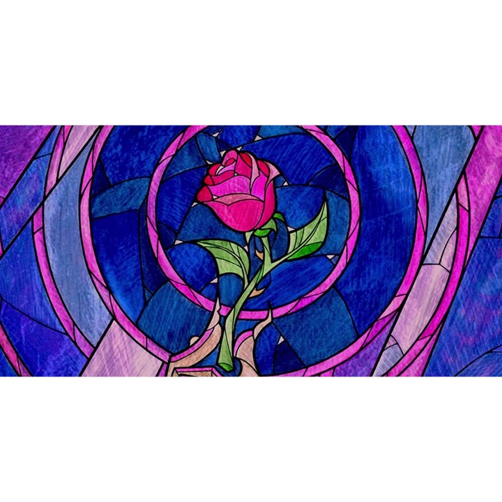 Enchanted Rose Stained Glass YOU ARE INVITED 3D Greeting Card (8x4)