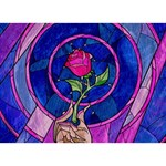 Enchanted Rose Stained Glass Heart Bottom 3D Greeting Card (7x5) Back