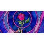 Enchanted Rose Stained Glass Twin Heart Bottom 3D Greeting Card (8x4) Front