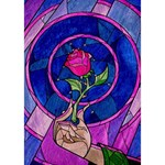 Enchanted Rose Stained Glass TAKE CARE 3D Greeting Card (7x5) Inside
