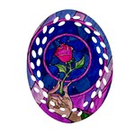Enchanted Rose Stained Glass Ornament (Oval Filigree)  Front