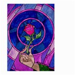 Enchanted Rose Stained Glass Large Garden Flag (Two Sides) Front