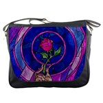 Enchanted Rose Stained Glass Messenger Bags Front