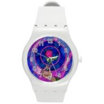 Enchanted Rose Stained Glass Round Plastic Sport Watch (M) Front