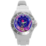 Enchanted Rose Stained Glass Round Plastic Sport Watch (L) Front