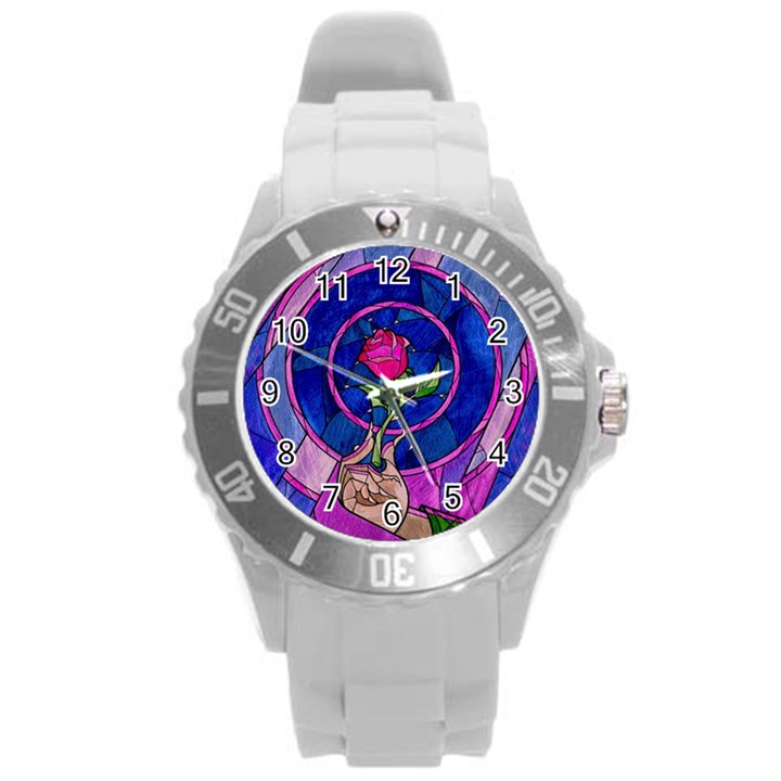 Enchanted Rose Stained Glass Round Plastic Sport Watch (L)