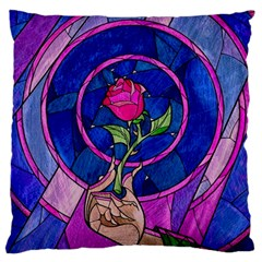 Enchanted Rose Stained Glass Large Cushion Case (one Side)