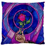 Enchanted Rose Stained Glass Large Cushion Case (One Side) Front