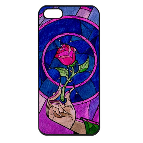 Enchanted Rose Stained Glass Apple iPhone 5 Seamless Case (Black)