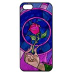 Enchanted Rose Stained Glass Apple iPhone 5 Seamless Case (Black) Front