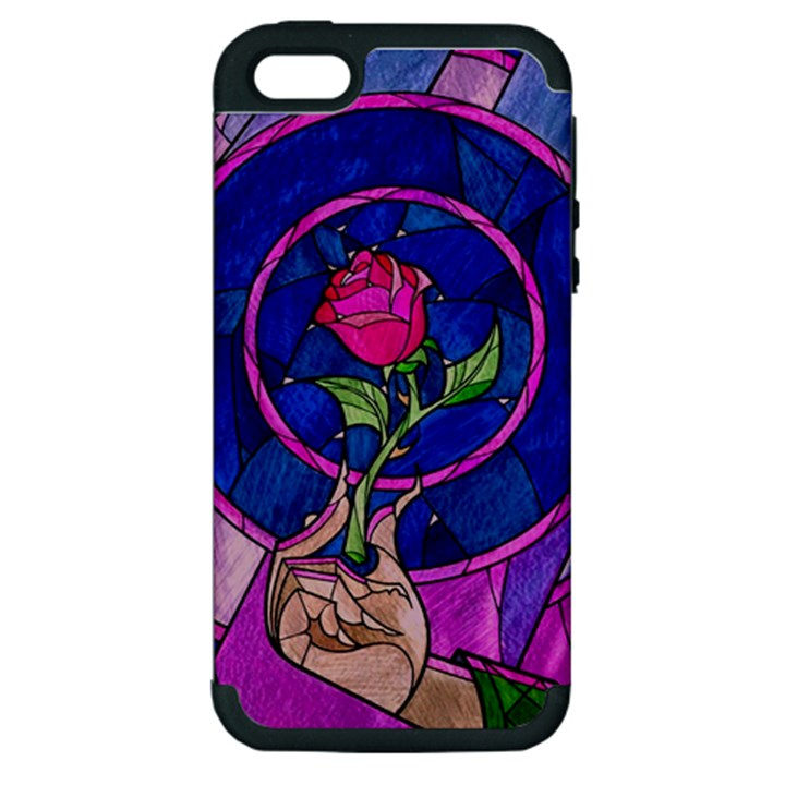 Enchanted Rose Stained Glass Apple iPhone 5 Hardshell Case (PC+Silicone)
