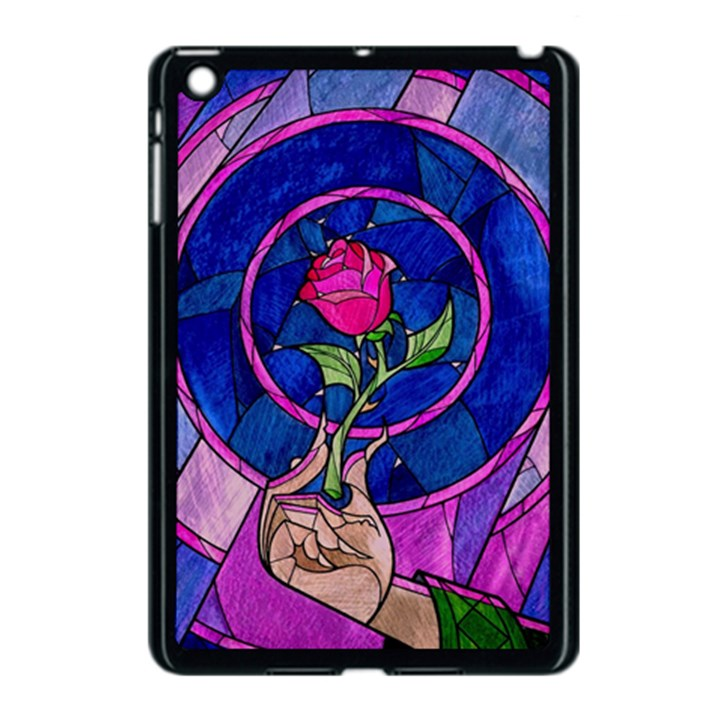 Enchanted Rose Stained Glass Apple iPad Mini Case (Black)