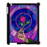Enchanted Rose Stained Glass Apple iPad 3/4 Case (Black) Front