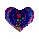 Enchanted Rose Stained Glass Standard 16  Premium Heart Shape Cushions Front