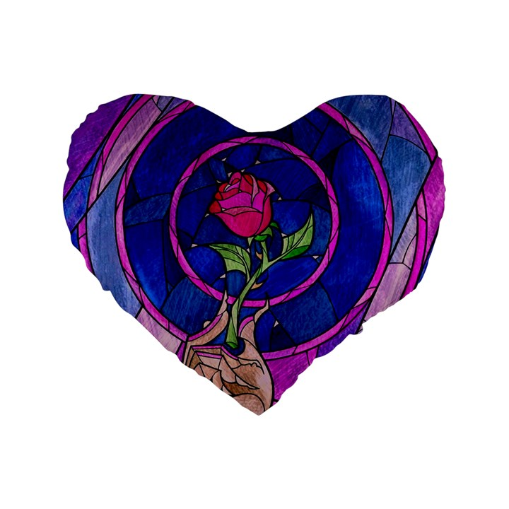 Enchanted Rose Stained Glass Standard 16  Premium Heart Shape Cushions