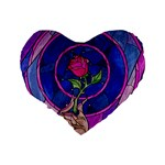 Enchanted Rose Stained Glass Standard 16  Premium Heart Shape Cushions Back