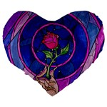 Enchanted Rose Stained Glass Large 19  Premium Heart Shape Cushions Back