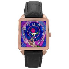 Enchanted Rose Stained Glass Rose Gold Leather Watch