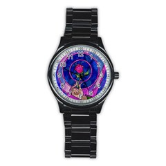 Enchanted Rose Stained Glass Stainless Steel Round Watch