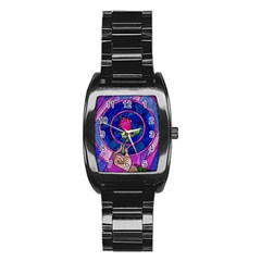 Enchanted Rose Stained Glass Stainless Steel Barrel Watch
