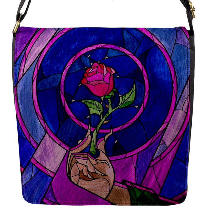 Enchanted Rose Stained Glass Flap Messenger Bag (S)