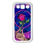 Enchanted Rose Stained Glass Samsung Galaxy S3 Back Case (White) Front