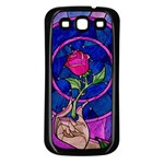 Enchanted Rose Stained Glass Samsung Galaxy S3 Back Case (Black) Front
