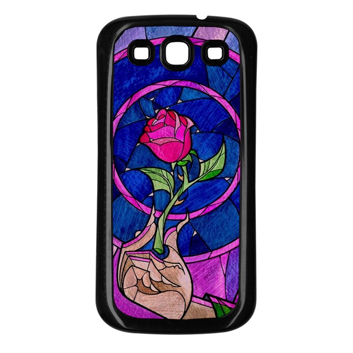 Enchanted Rose Stained Glass Samsung Galaxy S3 Back Case (Black)