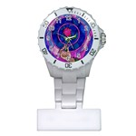 Enchanted Rose Stained Glass Plastic Nurses Watch Front
