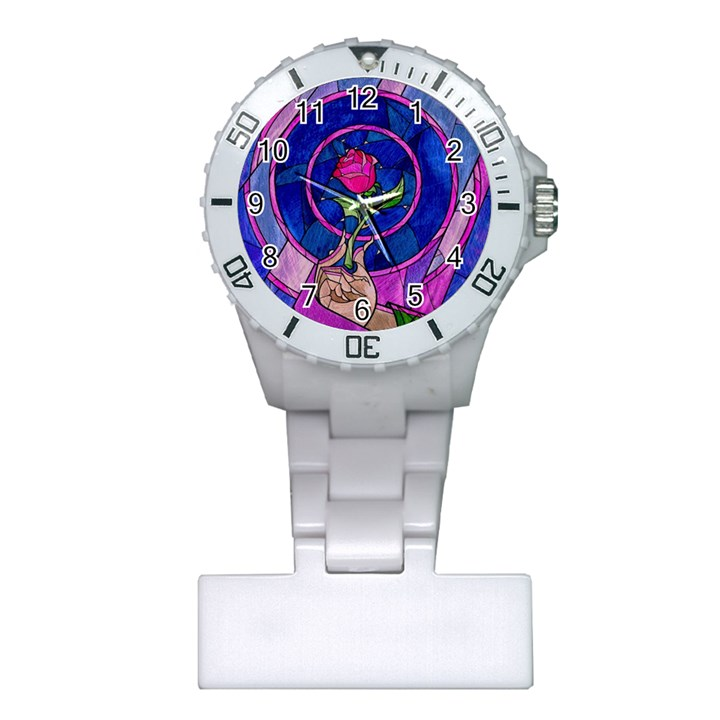 Enchanted Rose Stained Glass Plastic Nurses Watch