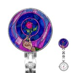 Enchanted Rose Stained Glass Stainless Steel Nurses Watch Front