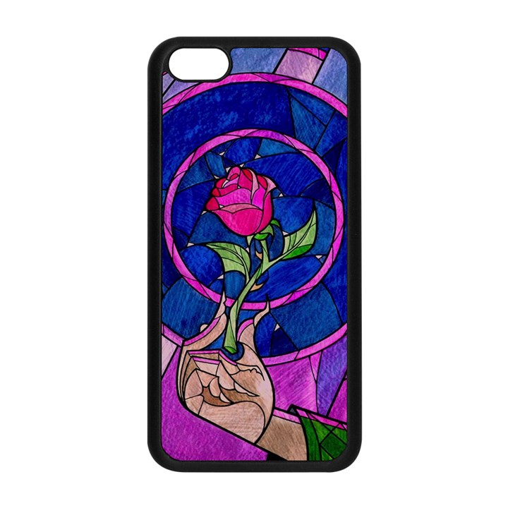 Enchanted Rose Stained Glass Apple iPhone 5C Seamless Case (Black)