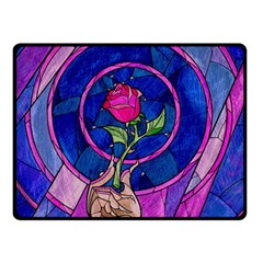 Enchanted Rose Stained Glass Double Sided Fleece Blanket (Small)
