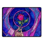 Enchanted Rose Stained Glass Double Sided Fleece Blanket (Small)  50 x40 Blanket Back