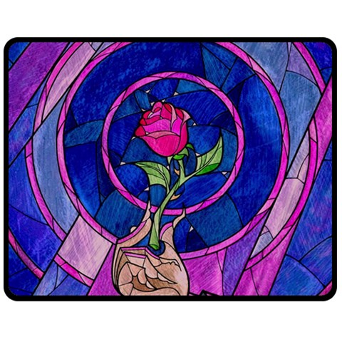 Enchanted Rose Stained Glass Double Sided Fleece Blanket (Medium)