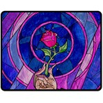 Enchanted Rose Stained Glass Double Sided Fleece Blanket (Medium)  60 x50 Blanket Front