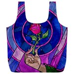 Enchanted Rose Stained Glass Full Print Recycle Bags (L)  Back