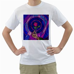 Enchanted Rose Stained Glass Men s T Shirt (white)