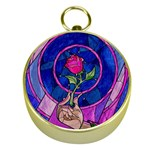 Enchanted Rose Stained Glass Gold Compasses Front